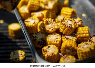 Hot corn cooked on the grill