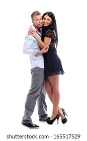 Hot  couple having a photo session in studio