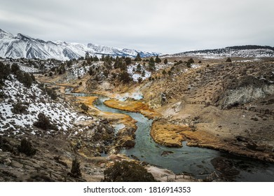 The Hot Creek in Mammoth, California on a cold winter day.