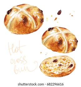 Hot cross bun. Watercolor Illustration.