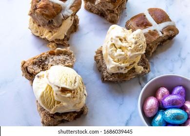 Hot cross buns ice cream bun sandwiches with easter eggs