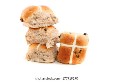 Hot Cross buns isolated on white background
