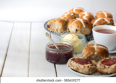 Hot Cross Buns with Jam and Butter Horizontal with Copy Space