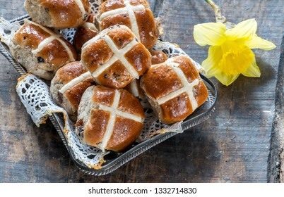 Hot cross buns - traditional Easter food - top view