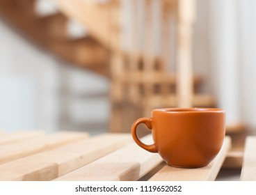 hot cup of coffee or tea in coffee shop