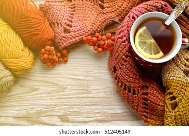hot cup of tea in the cold season.