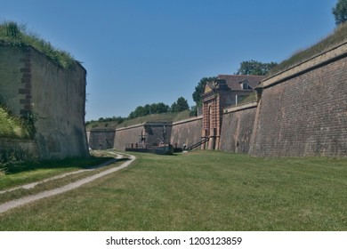 hot day in the dry great moat of the Neuf-Brisach fortress, designed by architect Vauban