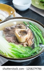 hot delicious beef bone marrow soup or also known as bulalo