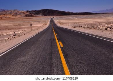 Hot Desert Road in Death Valley National Park, California