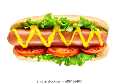 Hot dog with big sausage and fresh tomato isolated on white. Top view.