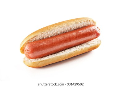 Hot dog with big sausage isolated on white