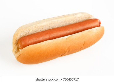 Hot dog in a bun on white background