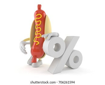 Hot dog character with percent symbol isolated on white background. 3d illustration