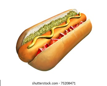 Hot dog with chopped tomato and relish. Digital illustration, clipping path included.