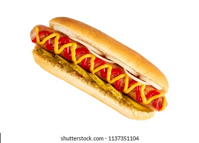 Hot dog with with cucumber and onion on white