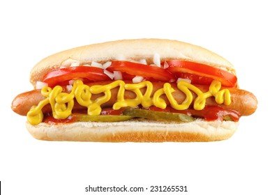 Hot dog with cucumber, tomato, onion, ketchup and mustard, front view , isolated on white