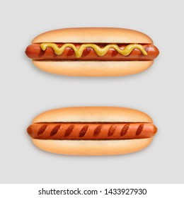 Hot dog grill with mustard on gray background.