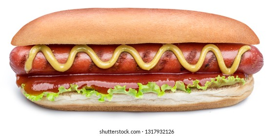 Hot dog - grilled sausage in a bun with sauces isolated on white background.