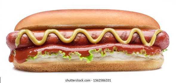 Hot dog - grilled sausage in a bun with sauces isolated on white background. - Shutterstock ID 1362586331