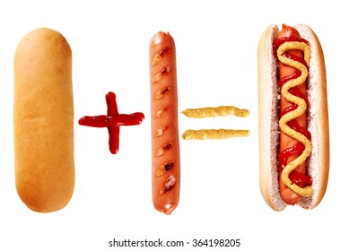 hot dog with ingredients isolated on white background