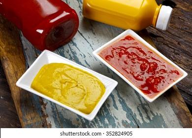Hot dog, ketchup, mustard.