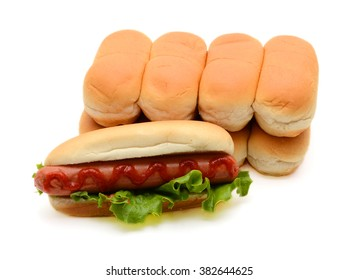 hot dog with lettuce and ketchup on white background