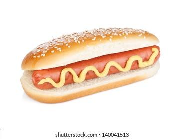 Hot dog with mustard. Isolated on white background