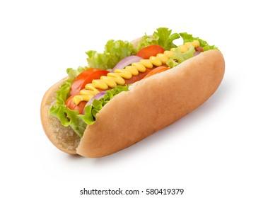 Hot dog with mustard isolated on white background