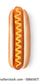 Hot dog with mustard isolated on white background