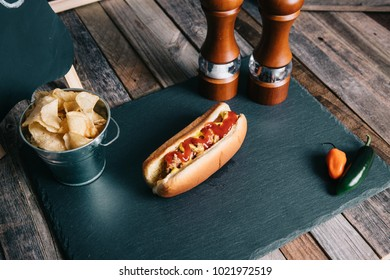 Hot Dog On Slate Board