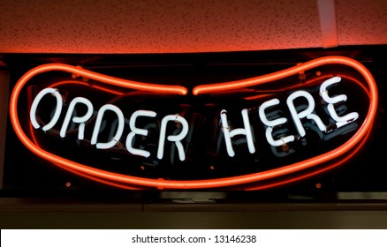 Hot Dog! Order here neon sign