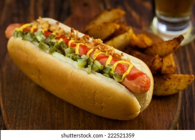 Hot Dog with Potato Wedges