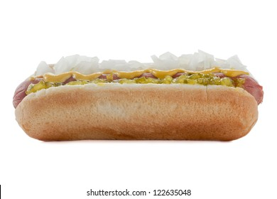 Hot Dog Sandwich with mustard, onions and pickles toppings