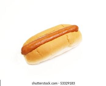 hot dog sausage in bun