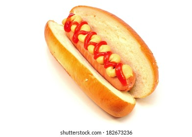 hot dog with tomato ketchup and mustard