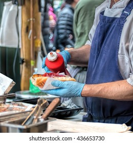 Hot Dog Vendor, Street Food.