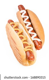 Hot dogs with mustard and mayonnaise isolated on white background