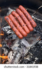 Hot dogs on campfire