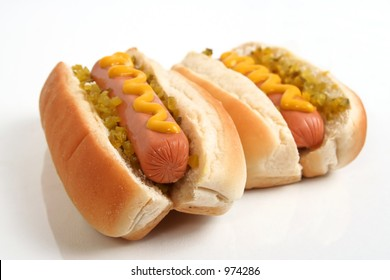 Hot Dogs,focus on left dog only