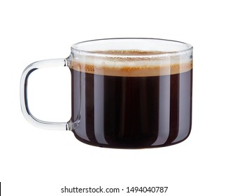 Hot double espresso coffee with foam in clear glass Cup with handle isolated on white background. 100 sharpness.