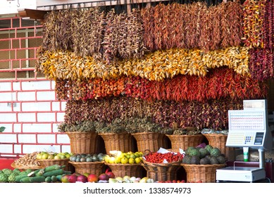 Hot dried peppers at traditional&tropical Madeira fruits
