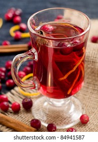 Hot drink with cranberries and cinnamon. Selective focus