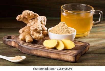 Hot drink of ginger and lemon - Zingiber officinale