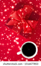 Hot drink, luxury festive menu and Valentines Day card concept - Winter holiday gift box, coffee cup and glowing snow on red flatlay background, Christmas time present surprise