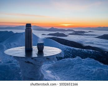 hot drink at sunrise in mountain, Mala Fatra, Slovakia