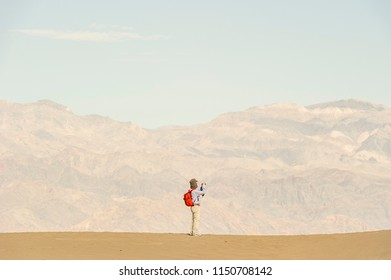 hot dry summer man getting lost in desert