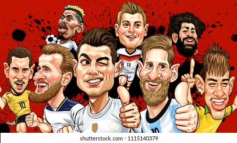 Hot and famous professional footballers,Cristiano Ronaldo,Leonel Messi,Neymar Jr.,Harry kane, Eden Hazard,Paul Pogba,Toni Kroos,Mohamed Salah,Illustration Caricature Design,June,18,2018