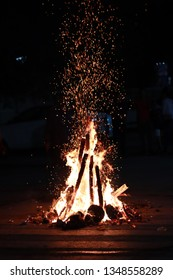 A hot fire in cold nights. It's not a bonfire rather a festival evening in the remembrance of Prince Prahalad who passed the fire test over her aunt Holika who had boon of not getting burned in fire.