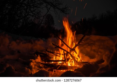 hot fire with dry branches in the winter