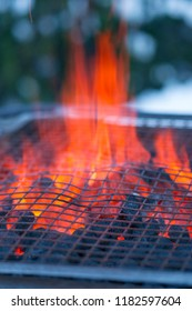 Hot fire on grill